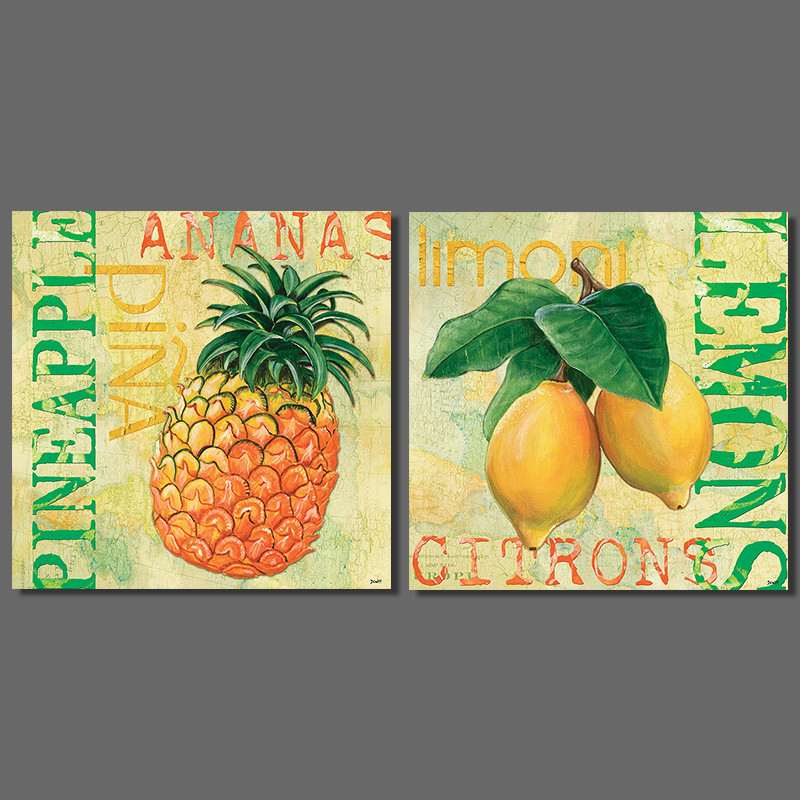 ᗗModern 2pcs/set Pineapple Lemon Picture decoration letters Canvas ...
