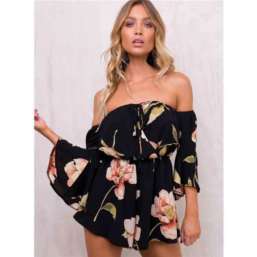 3541f66164c feitong Summer Playsuits Floral Print Elastic Waist Short Chiffon Jumpsuit  Women Flare Sleeve Boot Cut Sexy