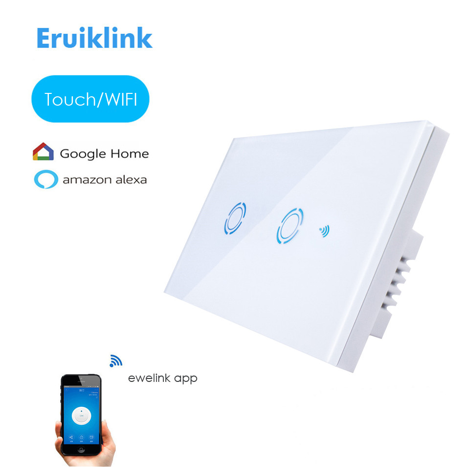 New Ewelink App US Type 2 gang wall light wifi switch, touch control panel, wifi remote control via smart phone, work with Alexa sonoff t1 smart wifi rf app touch control wall light switch 1 2 3 gang 86 type uk panel wall touch light switch alexa nest