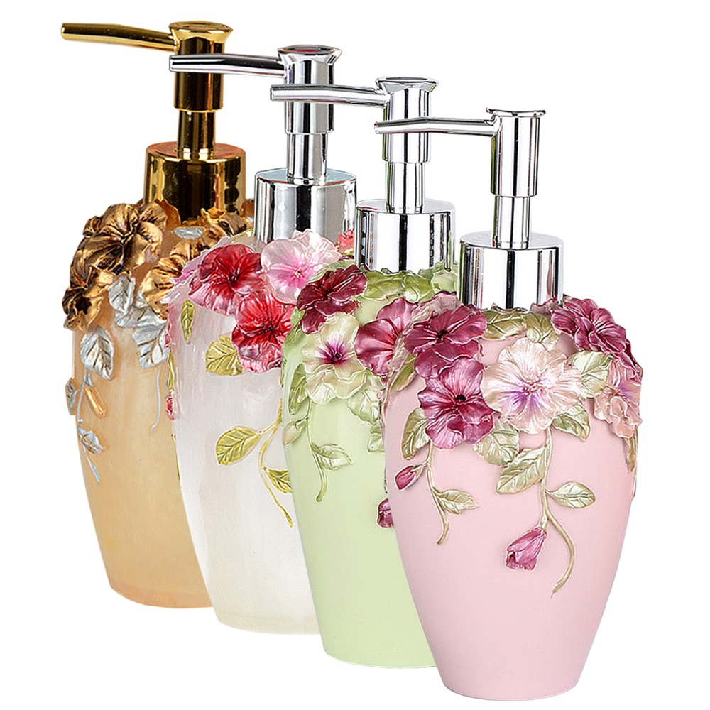 New Romantic 360ml Soap Lotion Dispenser 3D Floral Sculptured Pump Kitchen  Bathroom Set Sanitizer Dispenser In Liquid Soap Dispensers From Home  Improvement ...