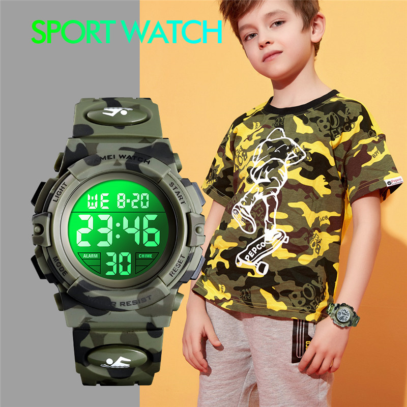 <font><b>SKMEI</b></font> Fashion Children's Watch 5Bar Waterproof Sport Colorful LED Digital Wristwatch Military Camouflage Kids Watches Boy Girl image
