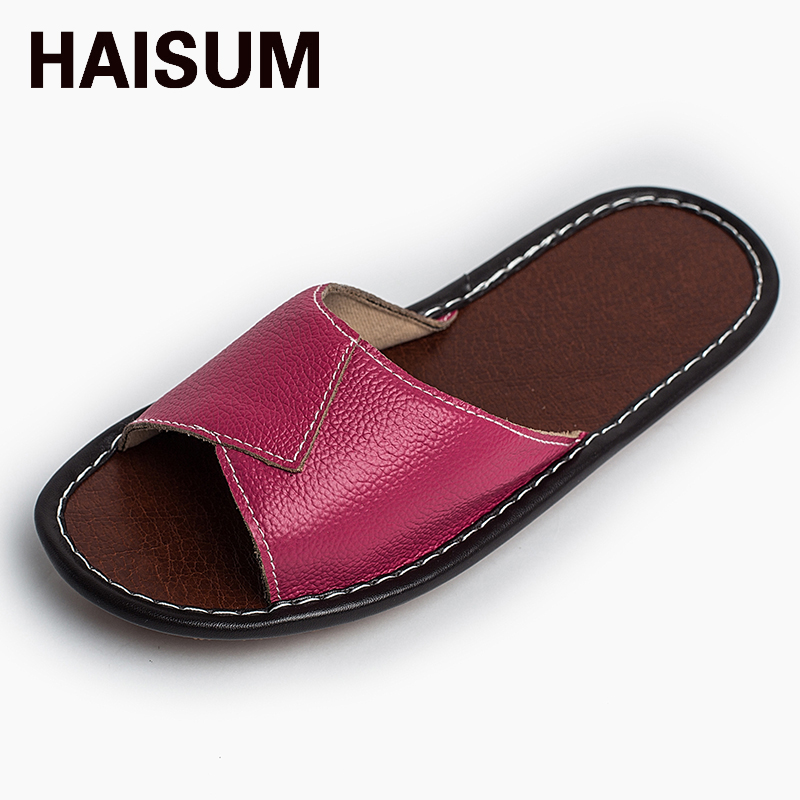2017 Women's leather slippers summer home in the home anti-skid tendon at the end of the couple indoor floor cool slippers kh001 2016 summer new leather tendon at the bottom side of the empty fish head crude rainbow low heeled shoes women xtf039