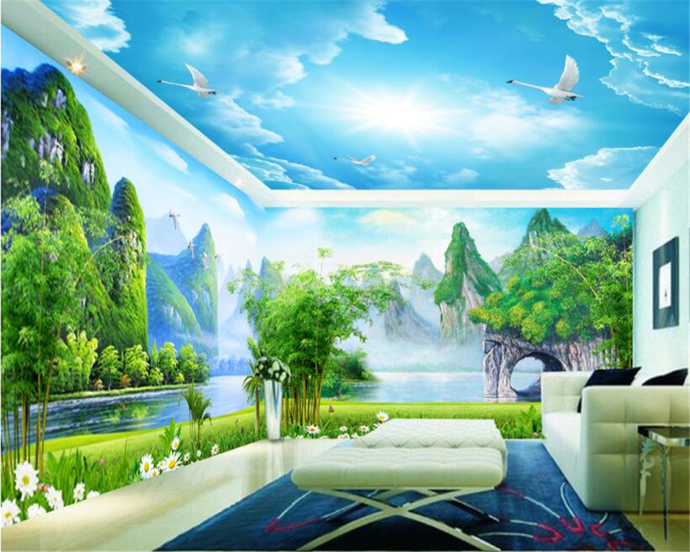 indoor landscape aesthetic wal background 3d tv huge wall backdrop lpaper whole wallpapers improvement beibehang personality decoration guilin murals custom