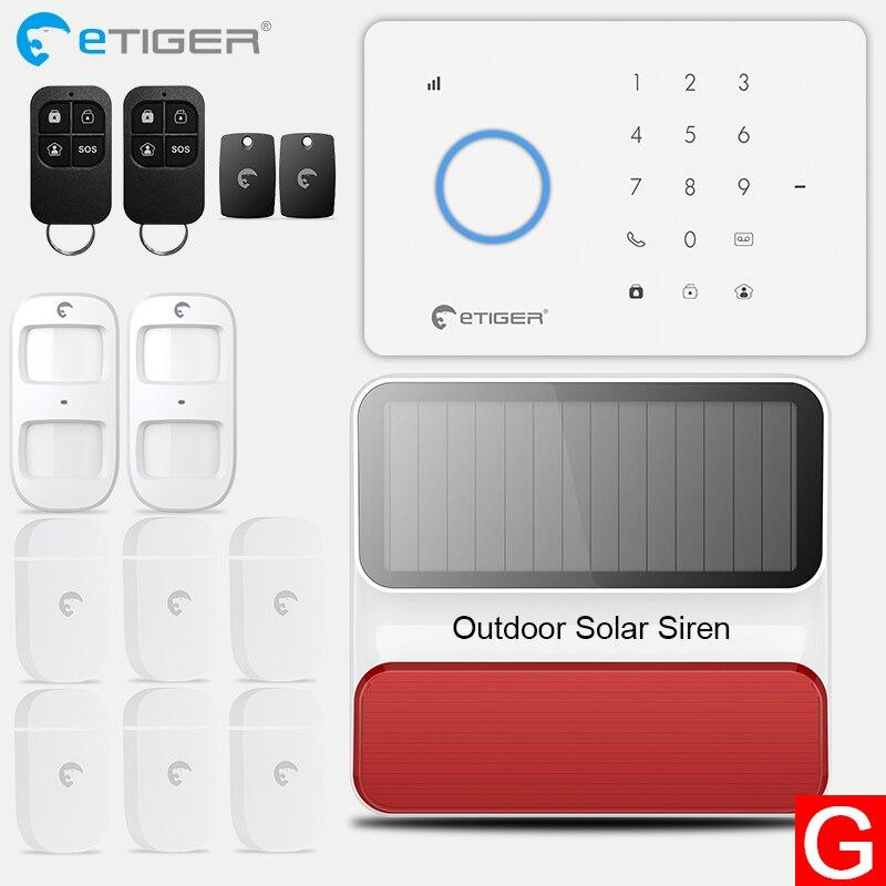 eTiger S3B Top Quality GSM Wireless PIR Home Security Burglar Alarm Systems Auto Dialing Dailer SMS Call White Panel