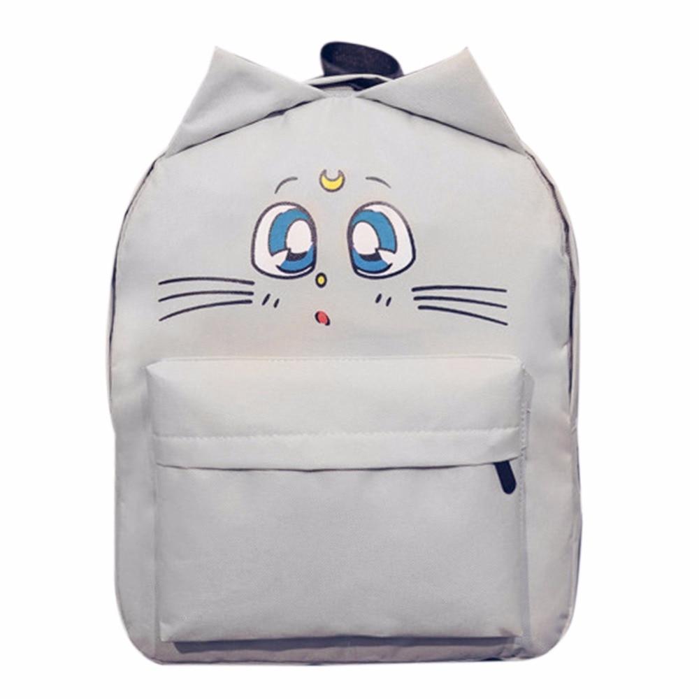 New Korean College Style Cute Cat Ear Sailor Moon Backpack Women Canvas Double Shoulder School Bags Casual Women Travel Rucksack