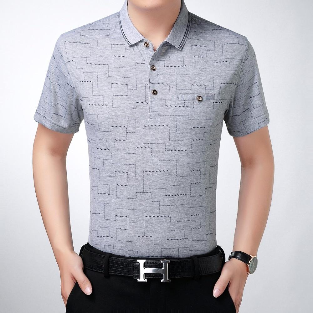 Summer Man Business Polo Shirts Navy Blue Gray Print Tops Smart