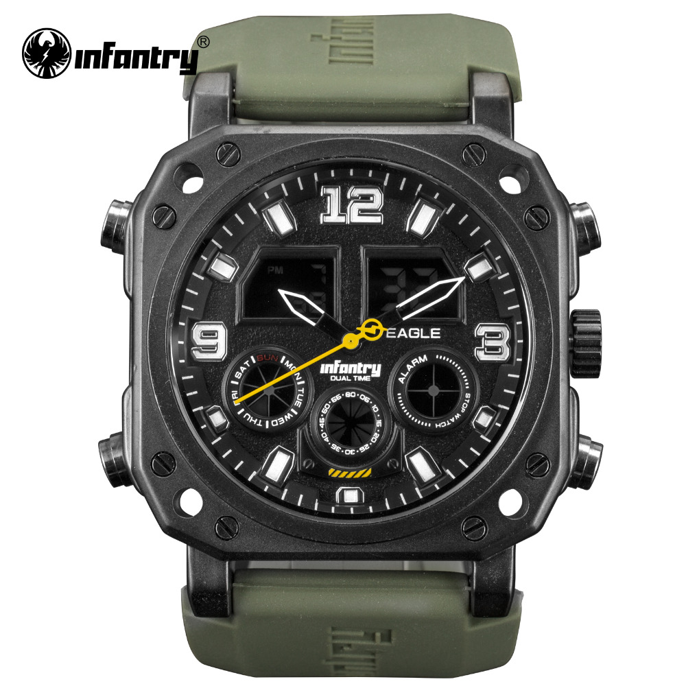 INFANTRY Military Watch Men LED Digital Wristwatch Mens Watches Top Brand Luxury Square Army Green Silicone Relogio Masculino