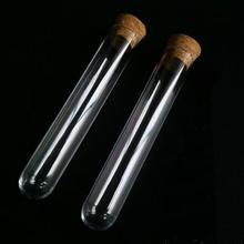 Прозрачная стеклянная тестовая трубка 40x200 мм, 4 шт./лот, круглое дно с пробковой пробкой для школы/химический эксперимент/лабораторная стеклянная посуда