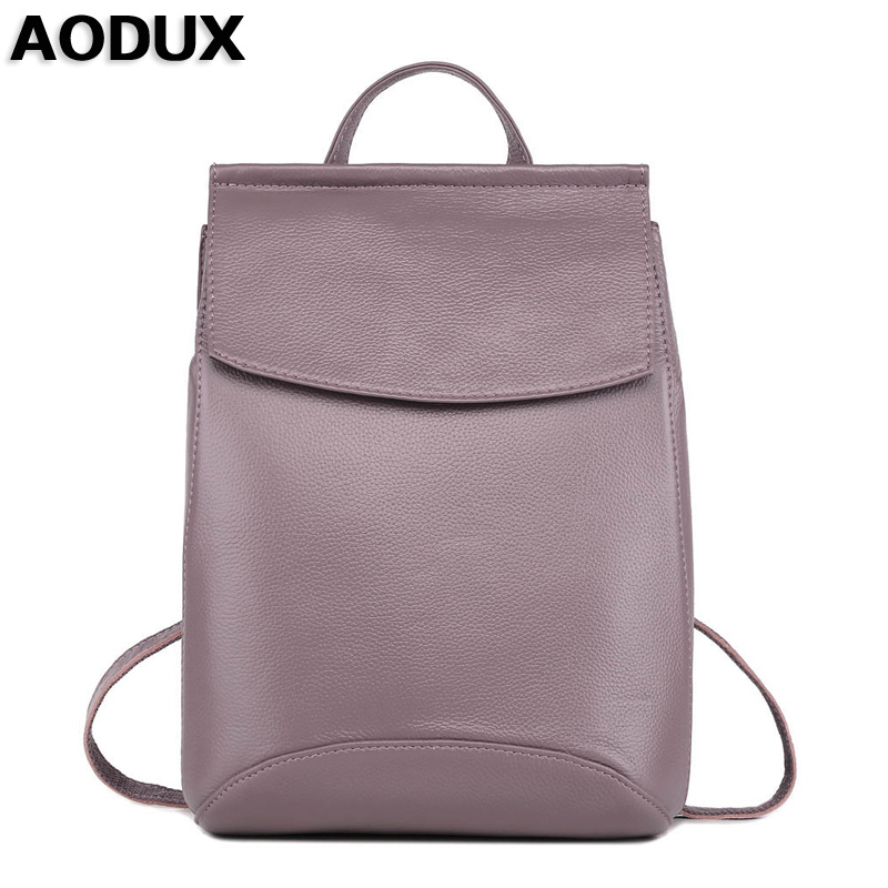 AODUX 2018 Genuine Leather Backpacks Female Real Cowhide Women Backpack Top Layer Cow Leather Shoulder Bag For Teenagers Girls zency genuine leather backpacks female girls women backpack top layer cowhide school bag gray black pink purple black color