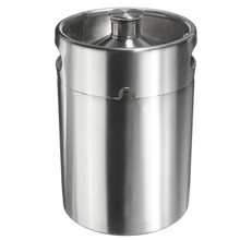 Stainless Beer Kegs  Portable Volume 5 Liter 176Oz Mini Keg Growler Home Brew Draft Pail Bar Accessories