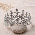 Женщины тиара Австрийский горный хрусталь корона волос ювелирные изделия королева диадема Свадебные Hairwear партии брак аксессуары