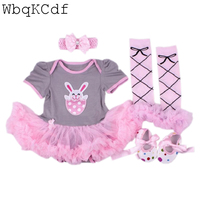New Baby Girl Clothing Sets Lace Tutu Romper Dress Jumpersuit Headband Shoes 4PCS Sets Bebe First Birthday Costumes Easter Gifts