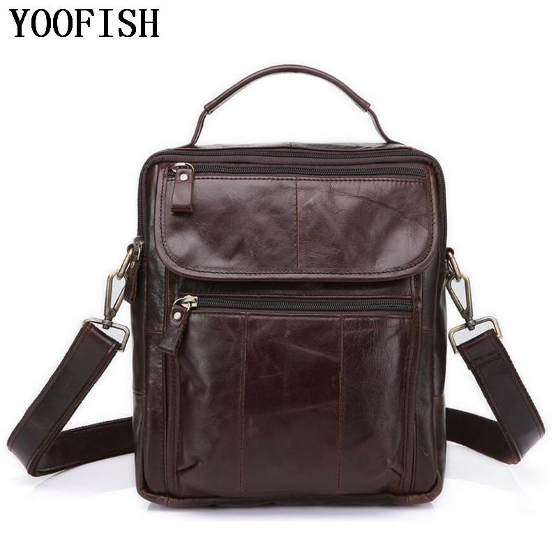 genuine leather Brand Men handbag Business Briefcases bag Cow Crazy Horse Leather messenger Shoulder High capacity Handbags цена