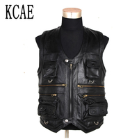 7XL New Men Waistcoat Genuine Leather Fishing Outdoor Reporters Suit More Than Pocket Quinquagenarian Men Cow