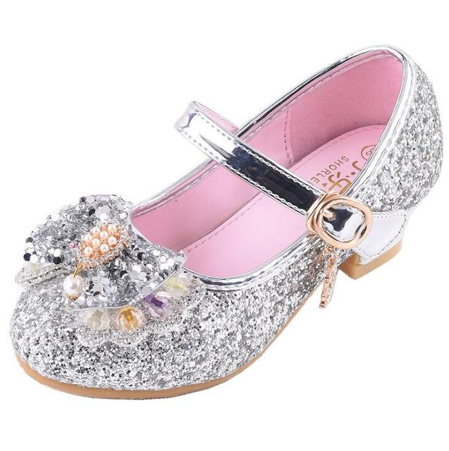 Girl High Heels Pink Sandals Children s Red Pink Princess Shoes Sequin  Students Dance Shoes Size 26-36 Kids Sandal 80bab5629f4b