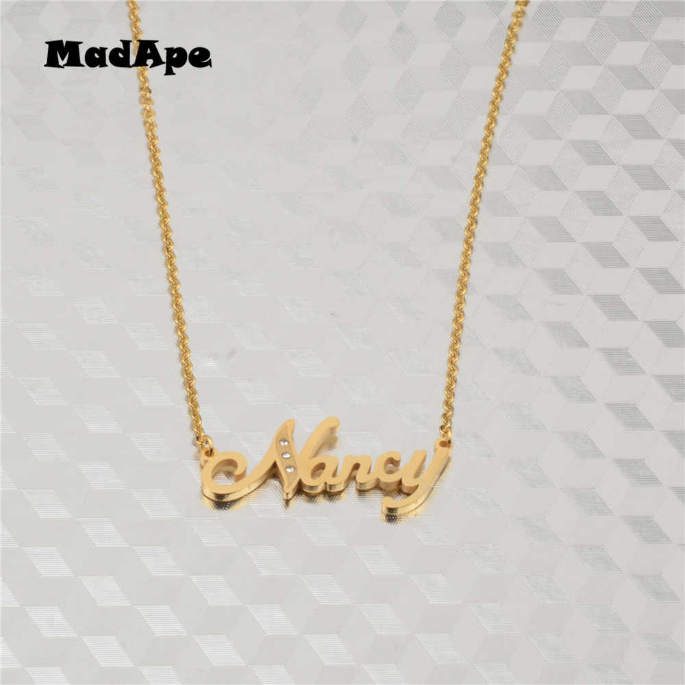 """MadApe """"Nancy"""" Handmade Jewelry Any Personalized Name Necklaces Women Men Choker Custom Necklace Engraved Bridesmaid Gift"""