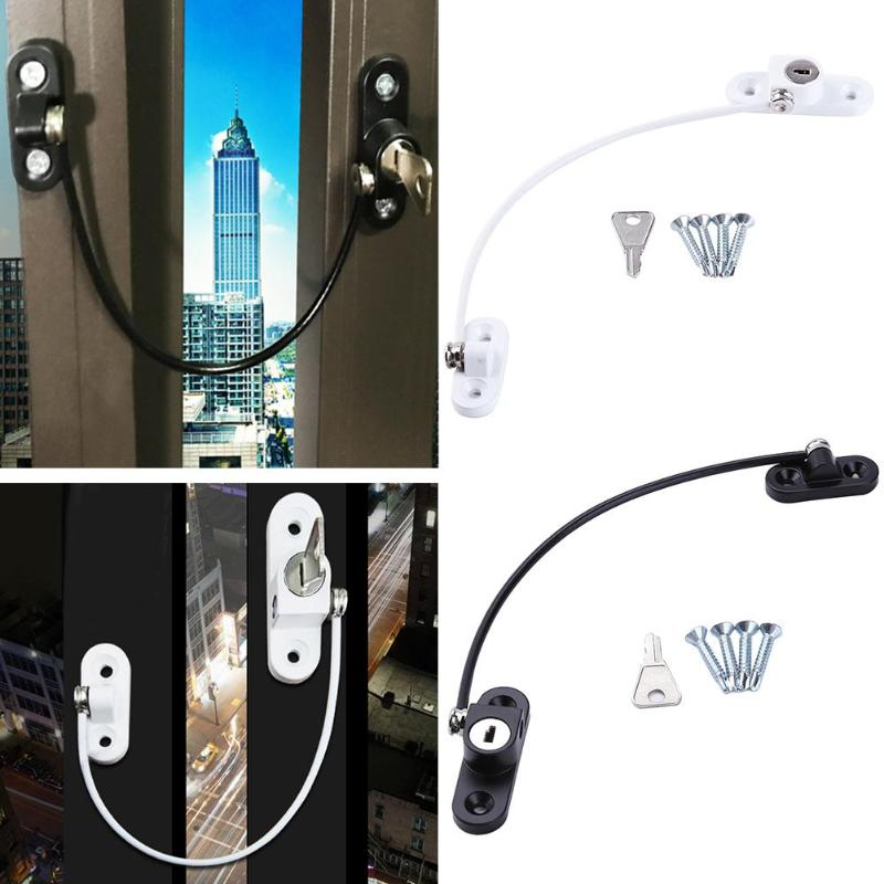 19cm Kids Security Window Locks Children Protection Restrictor Door Stopper Straps Steel Wire Window Limiter Baby Safety Locks
