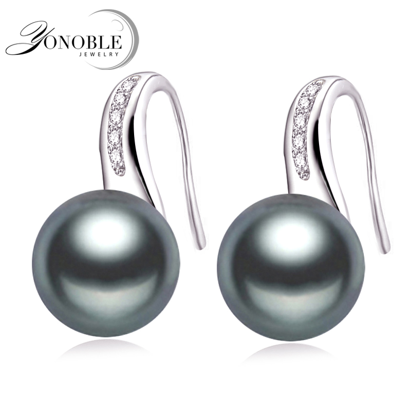 Genuine Natural Pearl earrings for women,925 silver earrings jewelry daughter birthday freshwater black pearl earrings stone