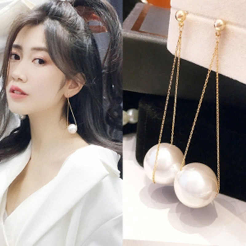 Women's Fashion New Metal Chain Beaded Imitation Pearl Simple Wild Sweet Romantic Long Earrings Wedding Accessories Gift