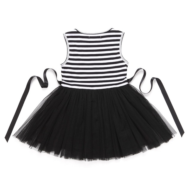 Baby Girls Dress 2017 Summer Casual Striped Princess Dresses sleeveless Black and White Stripes Mesh Dress Children Clothing