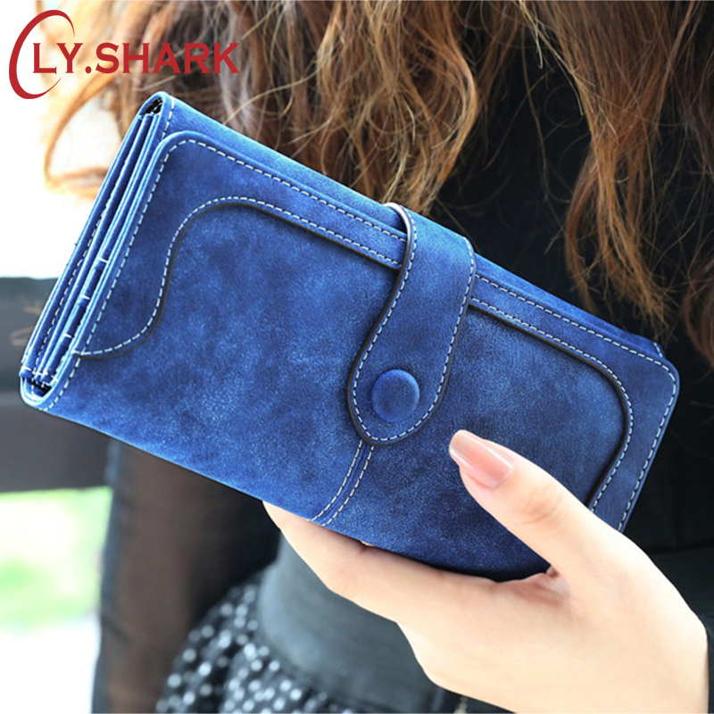 LY.SHARK Nubuck leather wallet women luxury brand coin purse bag female clutch bag Handbags dollar price long wallets carteira dollar price new european and american ultra thin leather purse large zip clutch oil wax leather wallet portefeuille femme cuir