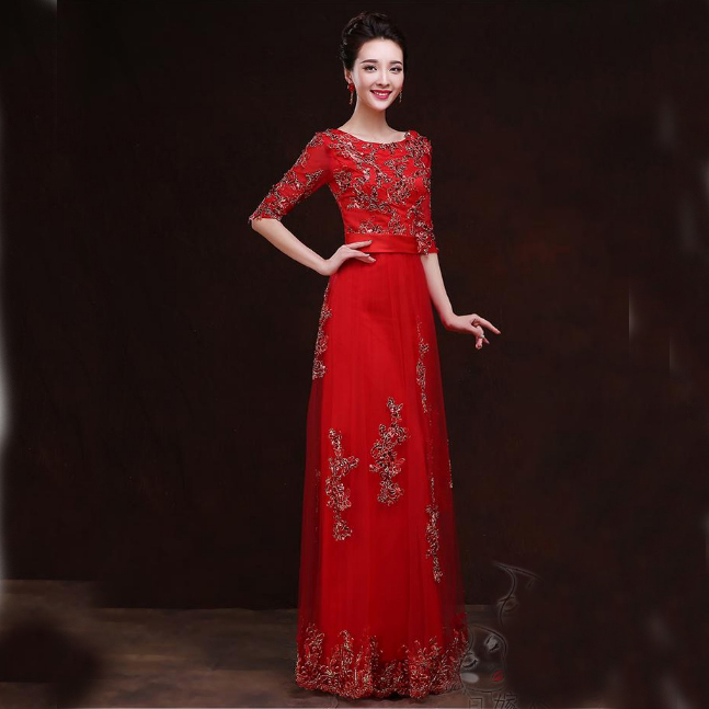 high fashion female red formal womens sleeved evening gown party dress long elegant woman gowns dresses S2917 - I And You Story store
