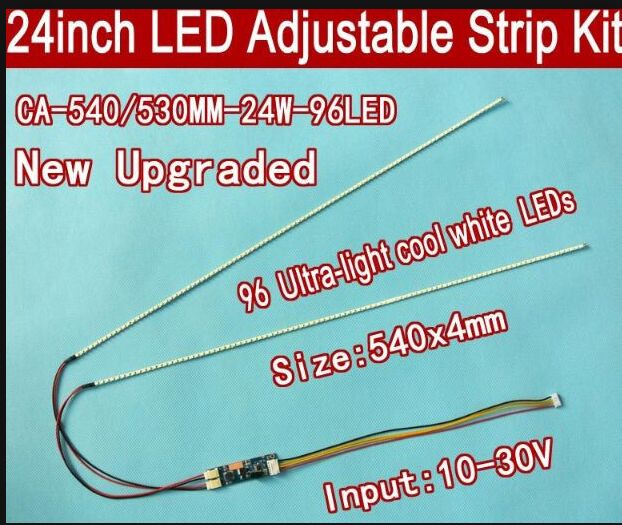 Free Shipping 10pcs 24'' 540mm Adjustable Brightness Led Backlight Strip Kit,Update 24inch-Wide LCD CCFL