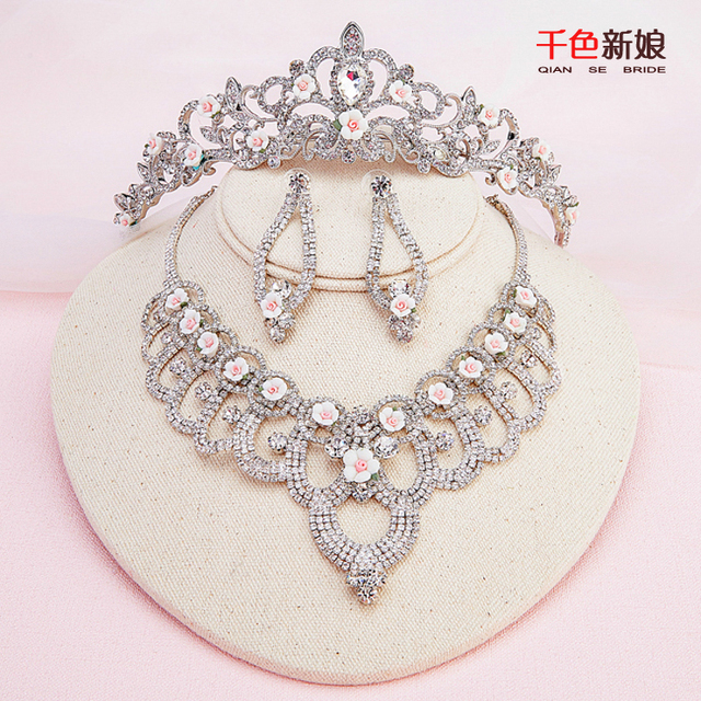 New crystal jewelry set necklace+tiara+earring women crown elegant flower diadem decoration wedding party accessory pengran