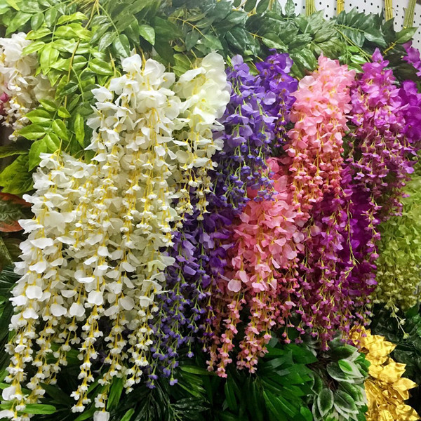 48pcs Lot 110cm Wisteria Artificial Flowers Wedding Party Festival Decoration Plastic In Dried From Home