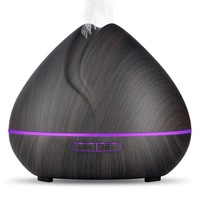 550ML Ultrasonic Air Humidifier Aroma Essential Oil Diffuser With Wood Grain 7 Changing LED Lights For