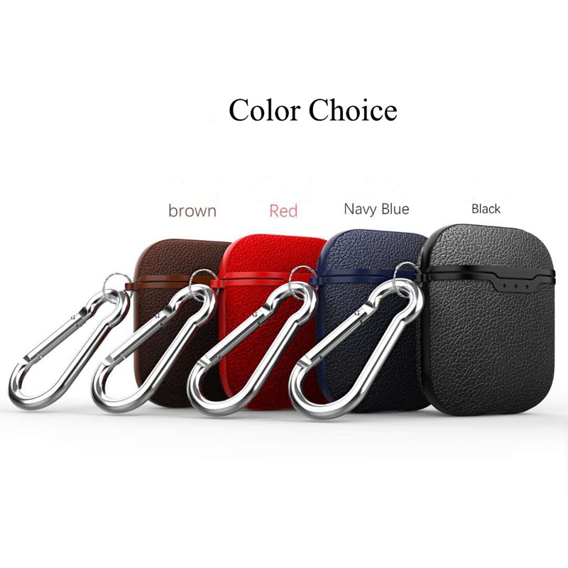 For Airpods Earphone Case Litchi Leather Pattern Soft TPU Bluetooth Wireless Earphone Case For Airpods 2 Wireless Charging Box in Earphone Accessories from Consumer Electronics