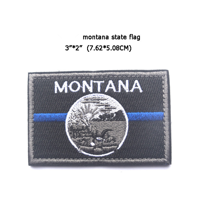 Embroidered Patches United States Montana State Flag Patch Tactical 3D National Flags Army Armband Badge in Patches from Home Garden