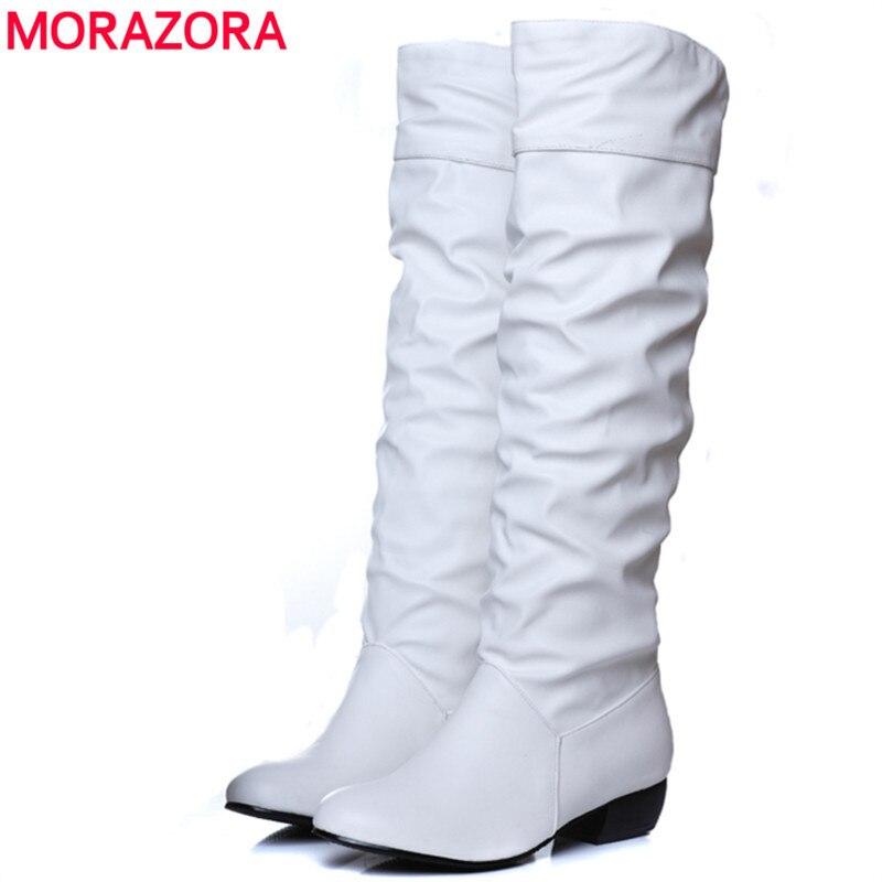 MORAZORA tamaño grande 2018 nuevo alta rodilla botas mujeres negro marrón blanco tacones planos mitad botas primavera zapatos de otoño zapatos mujer