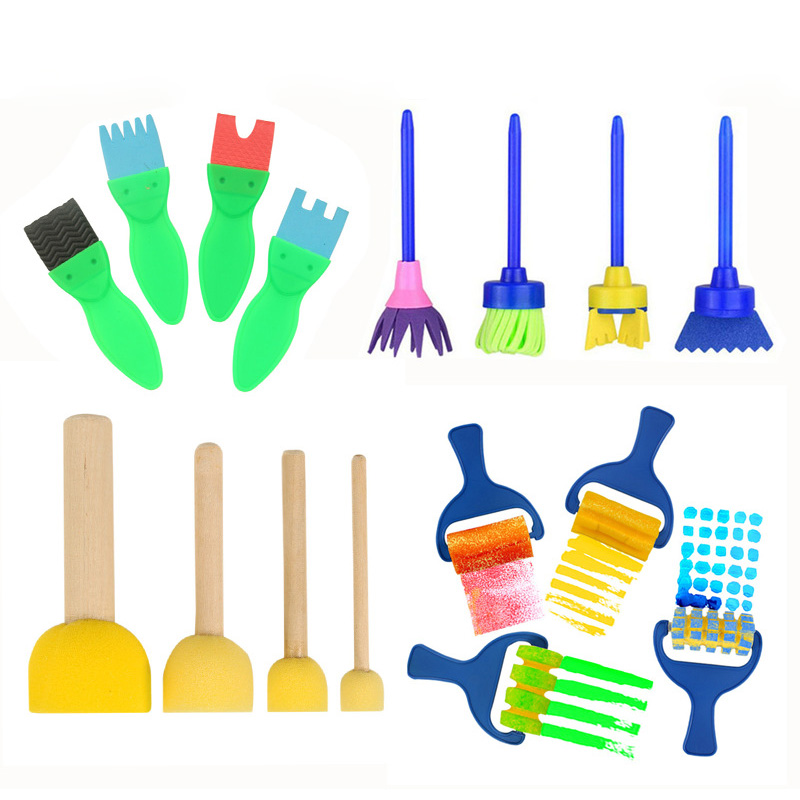 16 Pcs Children Art Craft Painting Sponge Brush Watercolor Graffiti Tool Roller Wooden Handle Brushes Kindergarten Art Materials