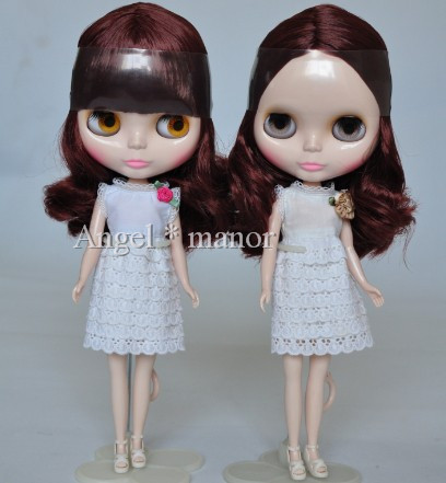 Free shipping Nude Blyth Doll, Maroon curly  hair, big eye doll,Fashion doll Suitable For DIY Change BJD , For Girl's Gift nude blyth doll with gold hair fashion doll suitable for diy change bjd for girl s gift free shipping pjj012