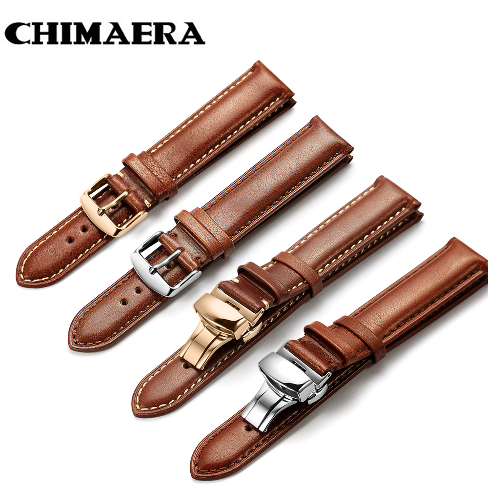 CHIMAERA Genuine Calf Watchband 18mm 19mm 20mm 21mm 22mm 24mm Watch Band Leather <font><b>Strap</b></font> for Omega <font><b>Breitling</b></font> Tissot Seiko Watch image