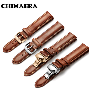 CHIMAERA Genuine Calf Watchband 18mm 19mm 20mm 21mm 22mm 24mm Watch Band Leather Strap for Omega Breitling Tissot Seiko Watch(China)