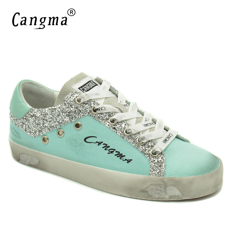 CANGMA Luxury Women Sneakers Canvas Casual Shoes Blue Breathable Genuine Leather Footwear Female Adult Shoes Ladies Sequin vik max adult kids dark blue leather figure skate shoes with aluminium alloy frame and stainless steel ice blade