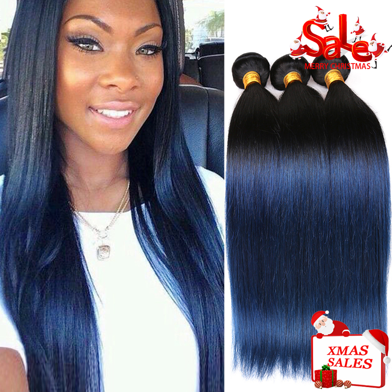 Indian Hair Straight Colored Blue Human Hair Weave 4 Bundles Remy