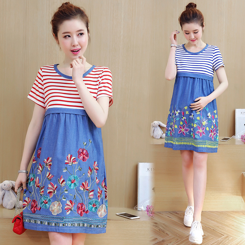 High Quality Nursing Maternity Dresses 2017 Summer Breastfeeding Clothes  Pregnant Woman Lactation Embroidered Short Sleeve Dress 13fcb3a72f8e
