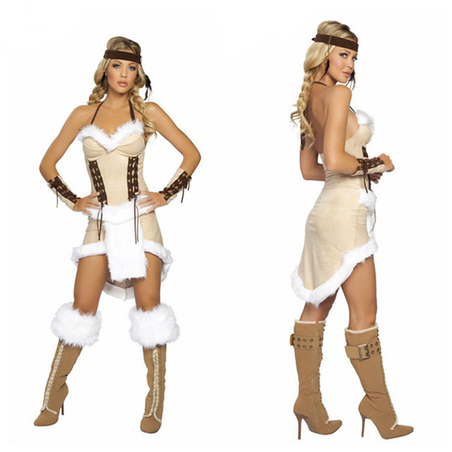 Freeshipping Cherokee Chief Native Indian Princess Costume Sexy Adult Cosplay Exotic Apparel Halloween Costume For Women