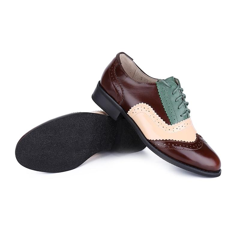 Grande Brown yellow Taille À 33 Main Printemps Véritable Cuir Vintage Oxford Green En Silver Derbies Femmes Marque Mètres Automne 46 La Chaussures qwz88RU