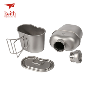 Image 3 - Keith Titanium 1100ml Sports Kettle And 700ml Titanium Lunch Box Camping Army Water Bottles Water Cooker Ultralight Ti3060