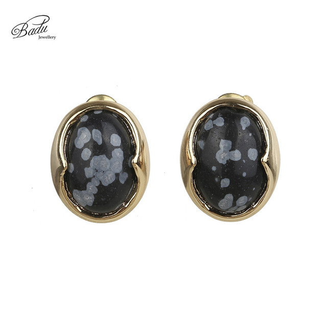 Badu Handmade Oval Natural Stone Stud Earrings Cute Simple Opal Ear Accessory For Wedding Casual