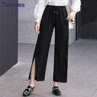 Spring Black Trousers Split Wide Leg Pants Elastic Waist Slim Office Lady Loose Women S Casual