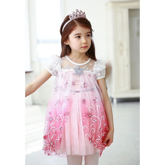 2018 New kids Carnival Clothing Baby Girls summer dress Elsa Anna Princess Dresses children Halloween party costume headband