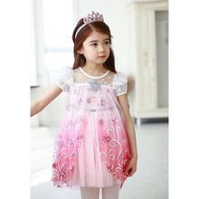Free shipping Retail Baby Girls dress New girls Elsa & Anna Dress For Girl Princess Dresses party costume free shipping цена 2017