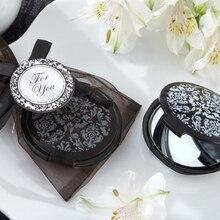 Подарок на свадьбу и подарки Damask элегантный черный и белый макияж компактное зеркало сувениры черный карманный зеркало для женщин 80 шт./партия