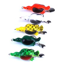 5PCS/SET Frog Fishing Lure Platypus Simulation Winter Ice Soft Baits Spoon Spinning Tackle Kit