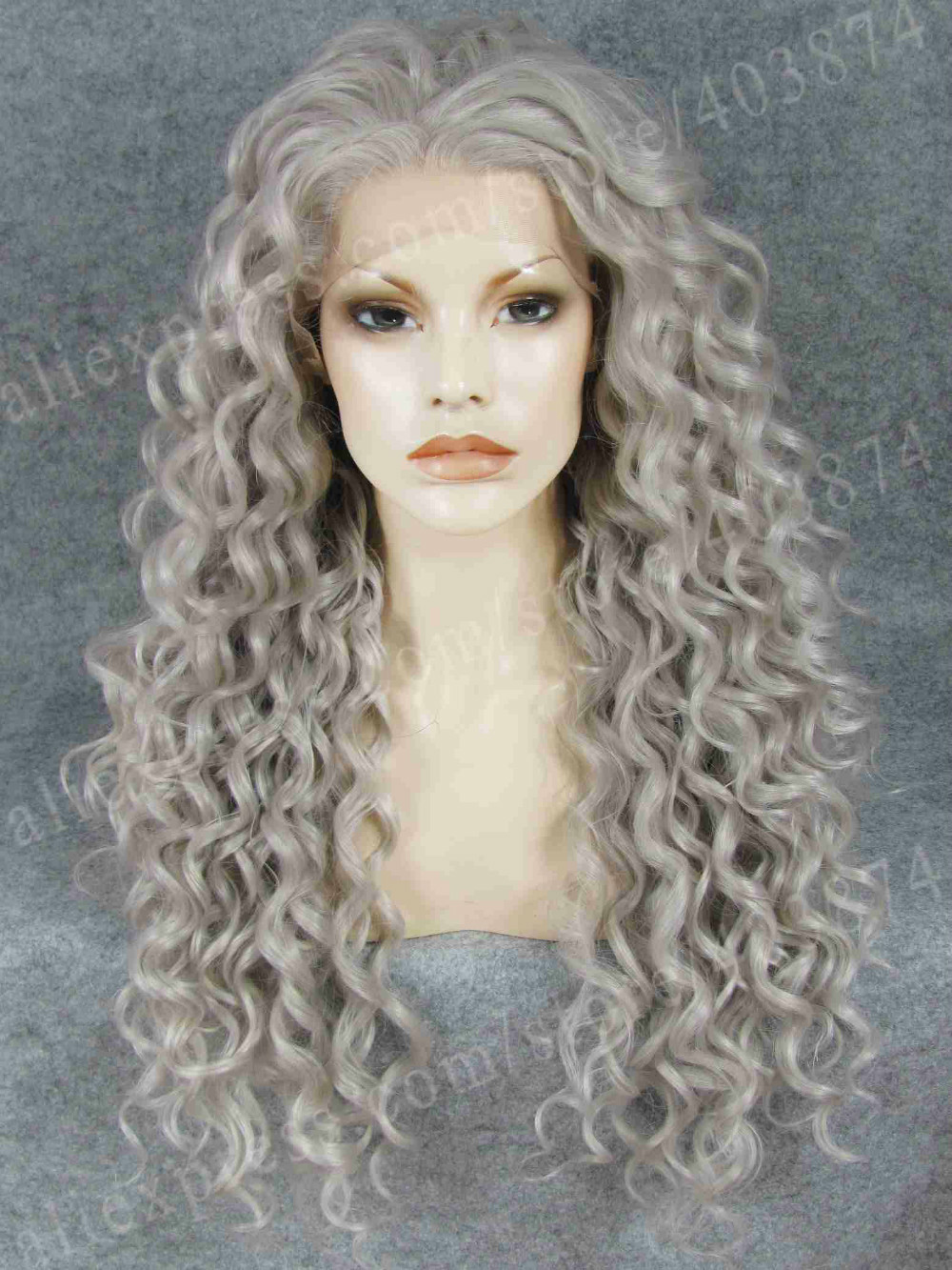 ФОТО Long Kinky Curly Grey Cosplay Lady Gaga Grey Synthetic Lace Wig Free Shipping